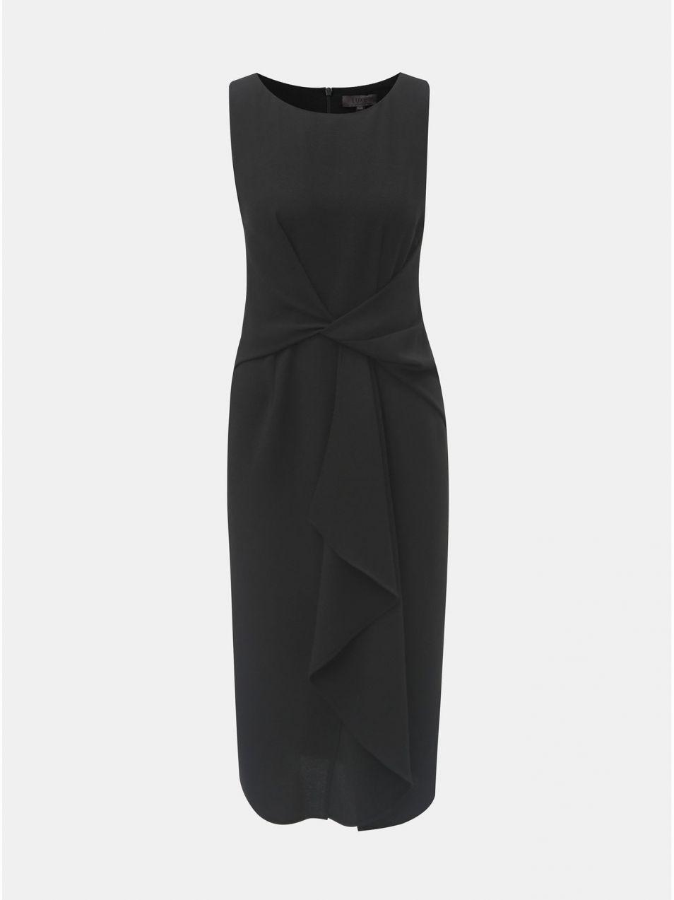993211adccb6 Čierne puzdrové šaty s volánom v prednej časti Dorothy Perkins ...