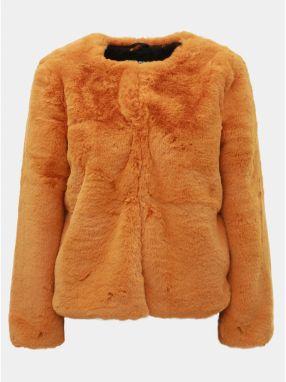 Horčicový krátky kabát z umelej kožušinky TALLY WEiJL 13b61246ba9