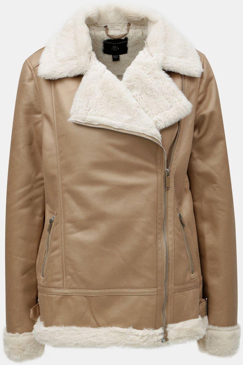 5abfad3b6d71 Béžová koženková bunda s umelou kožušinkou Dorothy Perkins značky Dorothy  Perkins - Lovely.sk