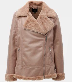 Ružová koženková bunda s umelou kožušinkou Dorothy Perkins e2ef92d0762