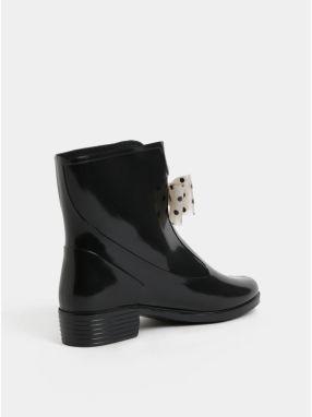 Čierne gumové členkové topánky s bodkovanou mašľou OJJU značky OJJU ... 8f4a4f887e0