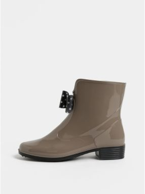 4fc0bd427f Béžové gumové členkové topánky s bodkovanou mašľou OJJU