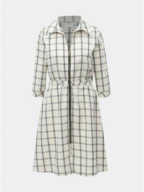 Čierno–krémové kockované šaty s gumou v páse a 3 4 rukávom SEVERANKA 0a5189ccca5