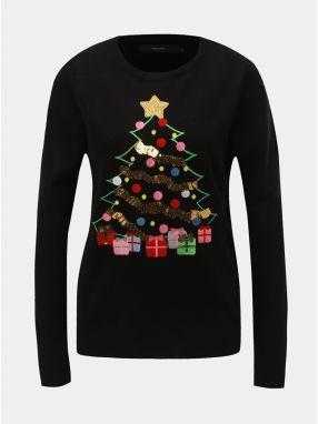 ae5937f98715 Čierny sveter s flitrami a vianočným motívom VERO MODA Christmas Tree