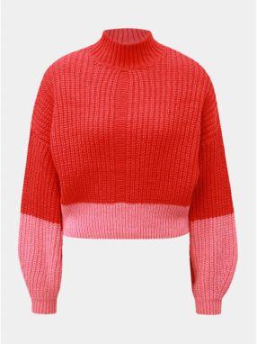 498759580145 Ružovo–červený krátky sveter so stojačikom Miss Selfridge