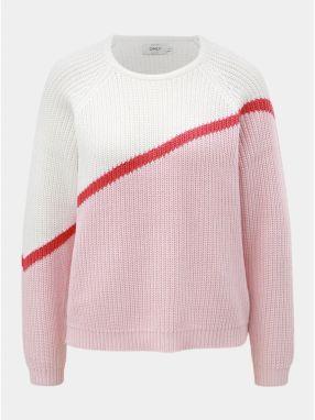 d44580b98240 Bielo–ružový sveter s dlhým rukávom ONLY Hilde