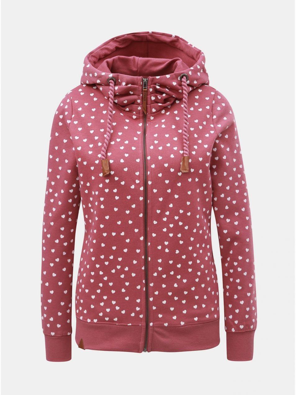 Ružová vzorovaná mikina s kapucňou ONLY Signe značky ONLY - Lovely.sk 81e116ea4ae