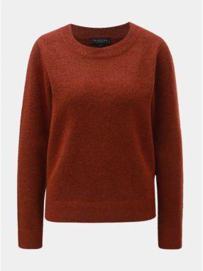a8f43b6c7f9d Hnedý melírovaný sveter s prímesou vlny Selected Femme Enva