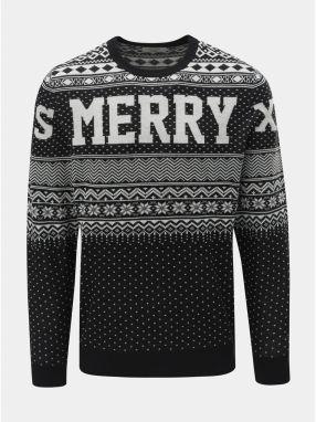 24b9076fb4d5 Bielo–čierny sveter s vianočným motívom Jack   Jones Flake