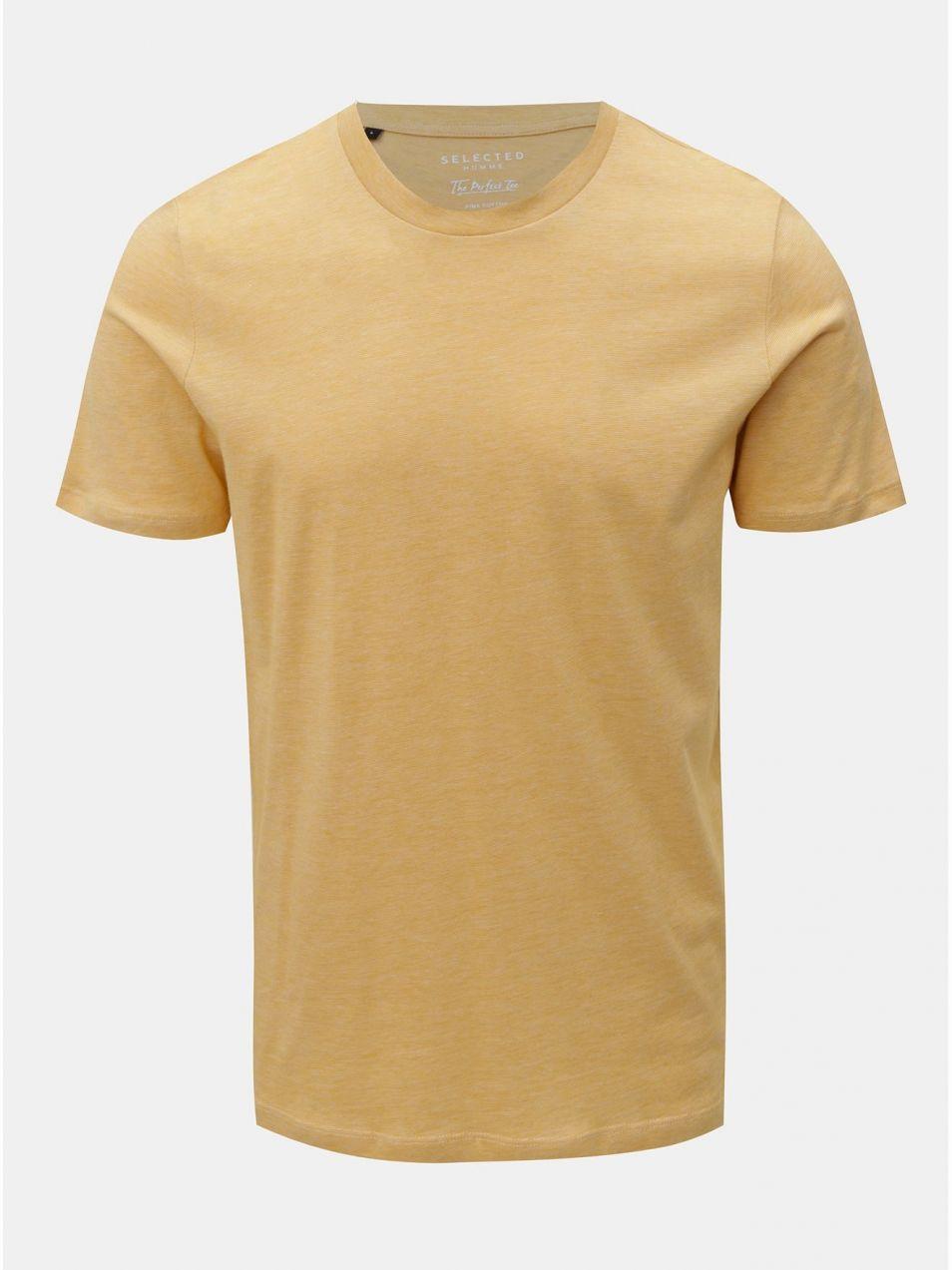 601d7a0b9de4 Žlté melírované tričko s krátkym rukávom Selected Homme Perfect ...