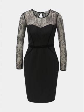 Čierne puzdrové šaty s čipkovaným sedlom a rukávmi Dorothy Perkins Petite 8c462d8fd68