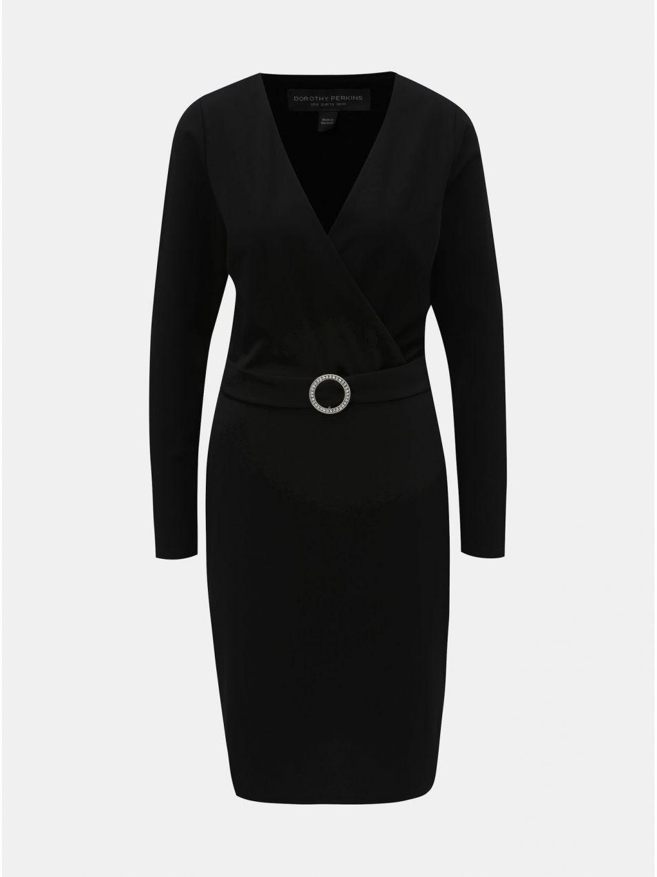 56886d7f7a Čierne puzdrové šaty s prekladaným výstrihom a opaskom Dorothy Perkins Tall