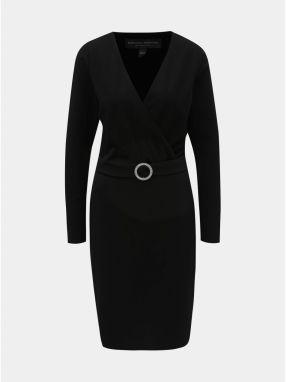 48111bea8de6 Čierne puzdrové šaty s prekladaným výstrihom a opaskom Dorothy Perkins Tall