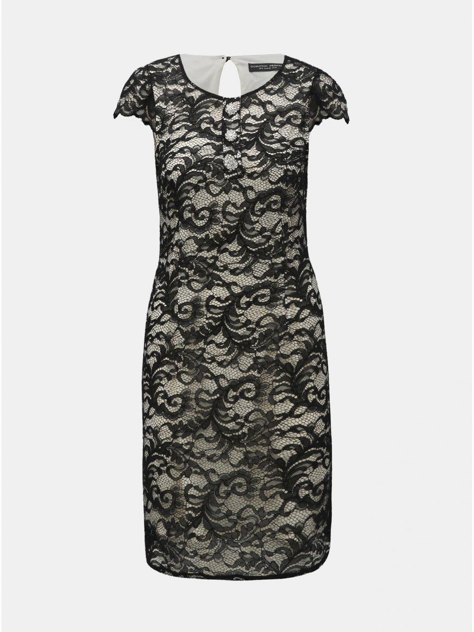 c5fb7fc99625 Bielo–čierne čipkované šaty s ozdobnými gombíkmi Dorothy Perkins ...
