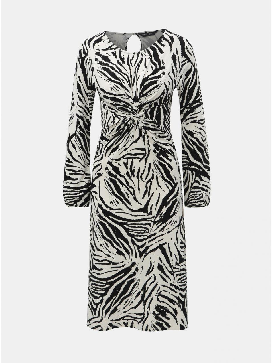 66d55d89f995 Čierno–biele vzorované šaty s riasením na bruchu Dorothy Perkins značky  Dorothy Perkins - Lovely.sk