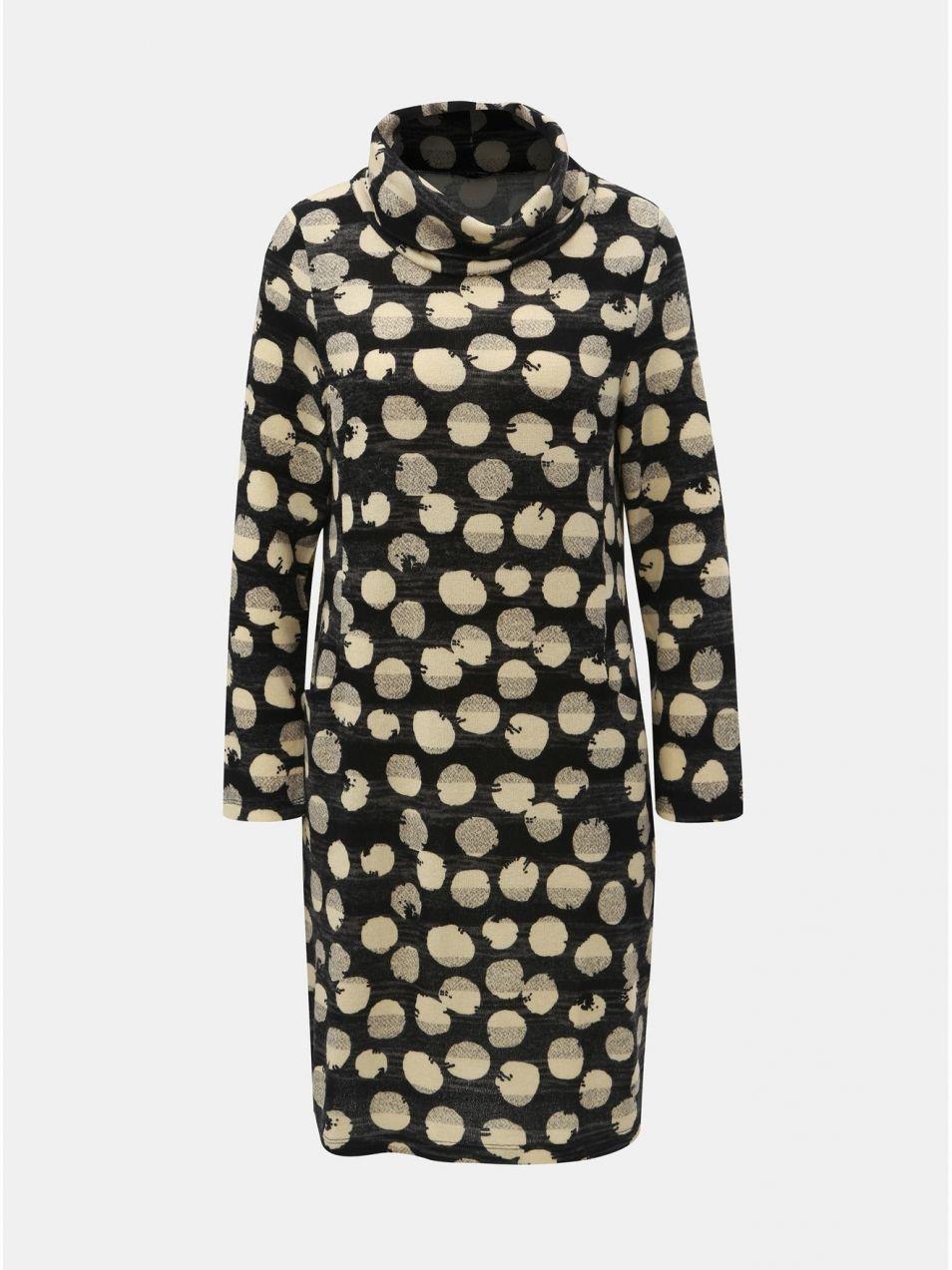 cad251e74388 Krémovo–čierne bodkované šaty s rolákom Smashed Lemon značky Smashed ...