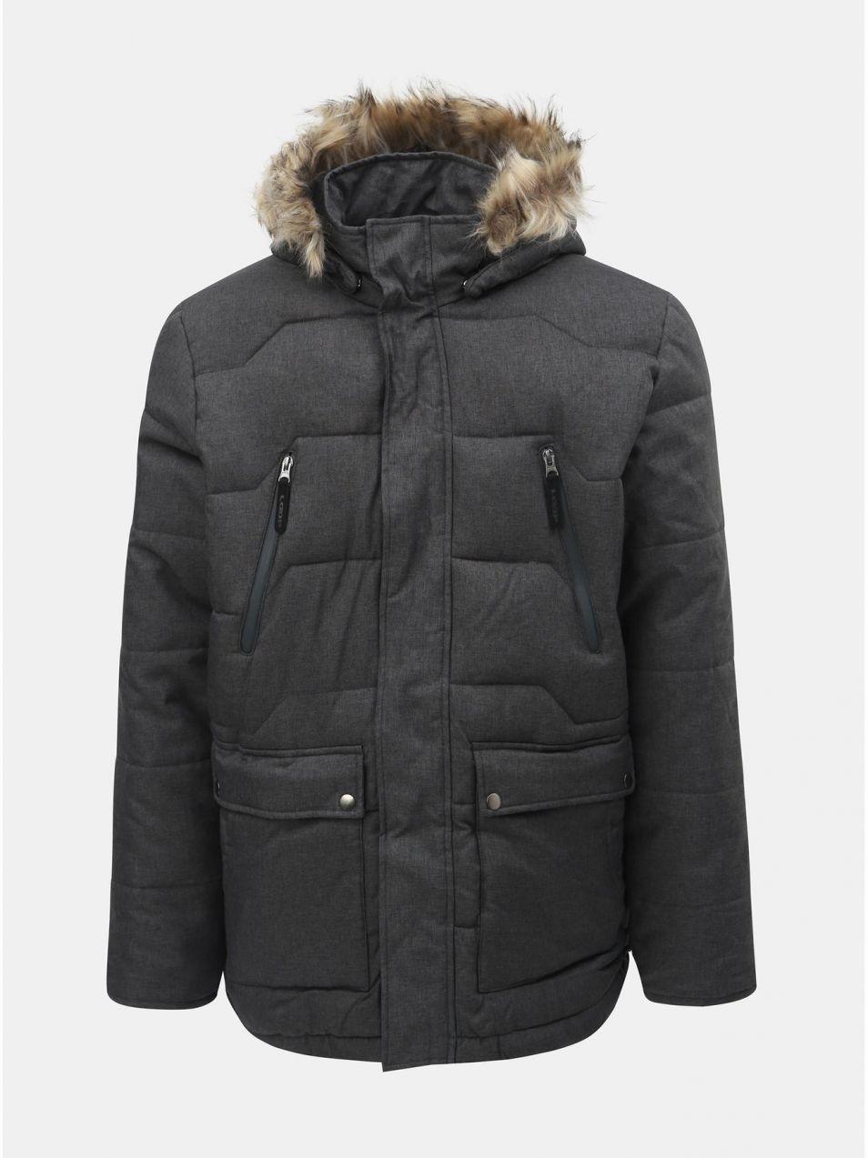 Tmavosivá pánska nepremokavá zimná bunda s odnímateľnou kožušinkou na  kapucni LOAP Thron d8492671730