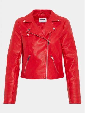 b6a1f4fd320 Červená koženková bunda s detailmi v striebornej farbe Noisy May Allan
