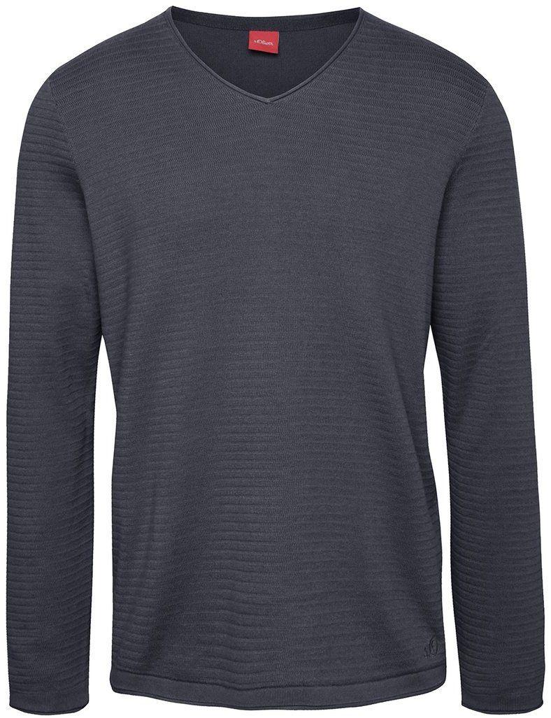 cacf9ef6da9b Modrý pánsky sveter s véčkovým výstrihom s.Oliver značky s.Oliver -  Lovely.sk