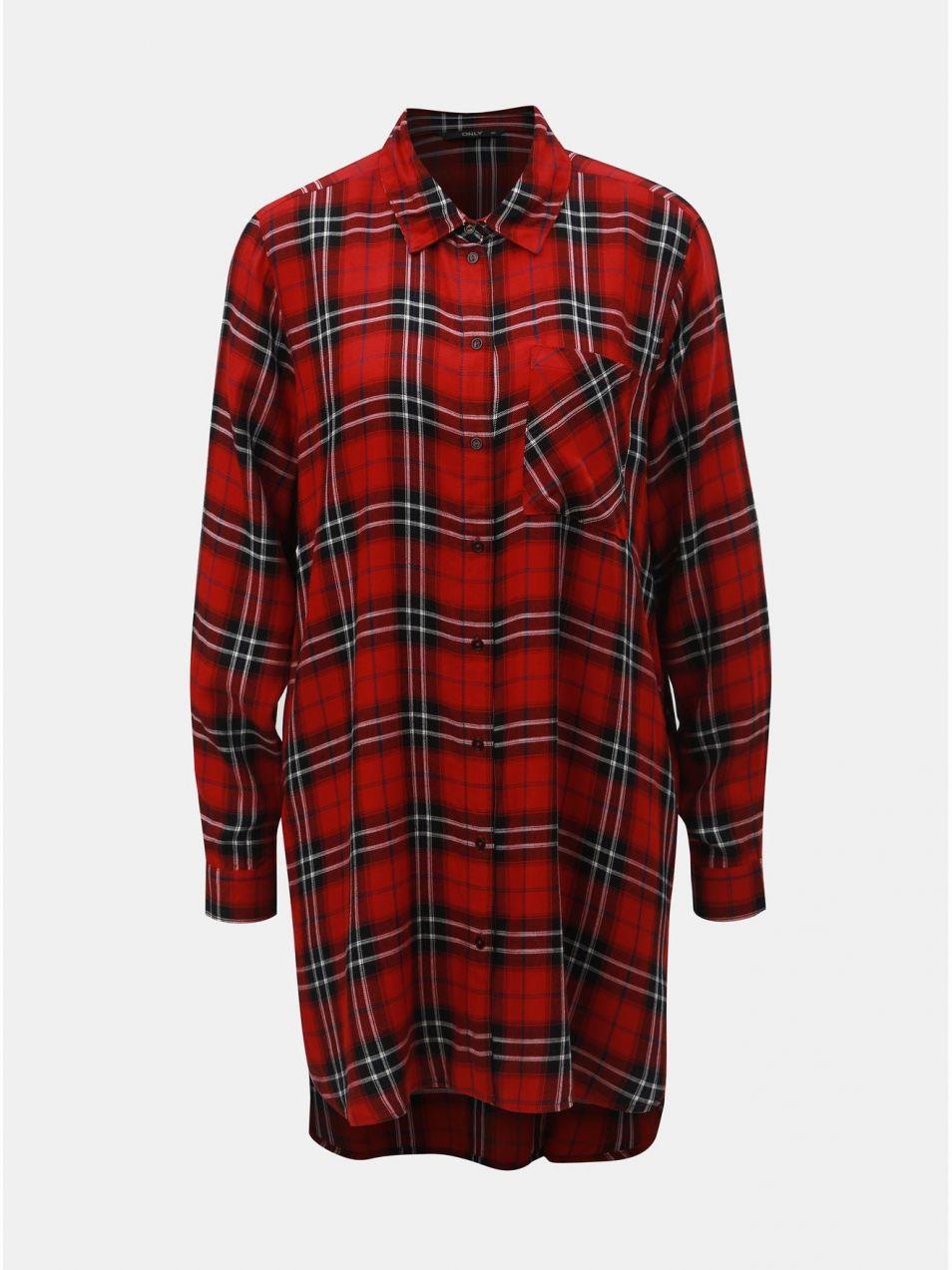 fe27da0119ff Čierno–červená dlhá károvaná košeľa ONLY značky ONLY - Lovely.sk