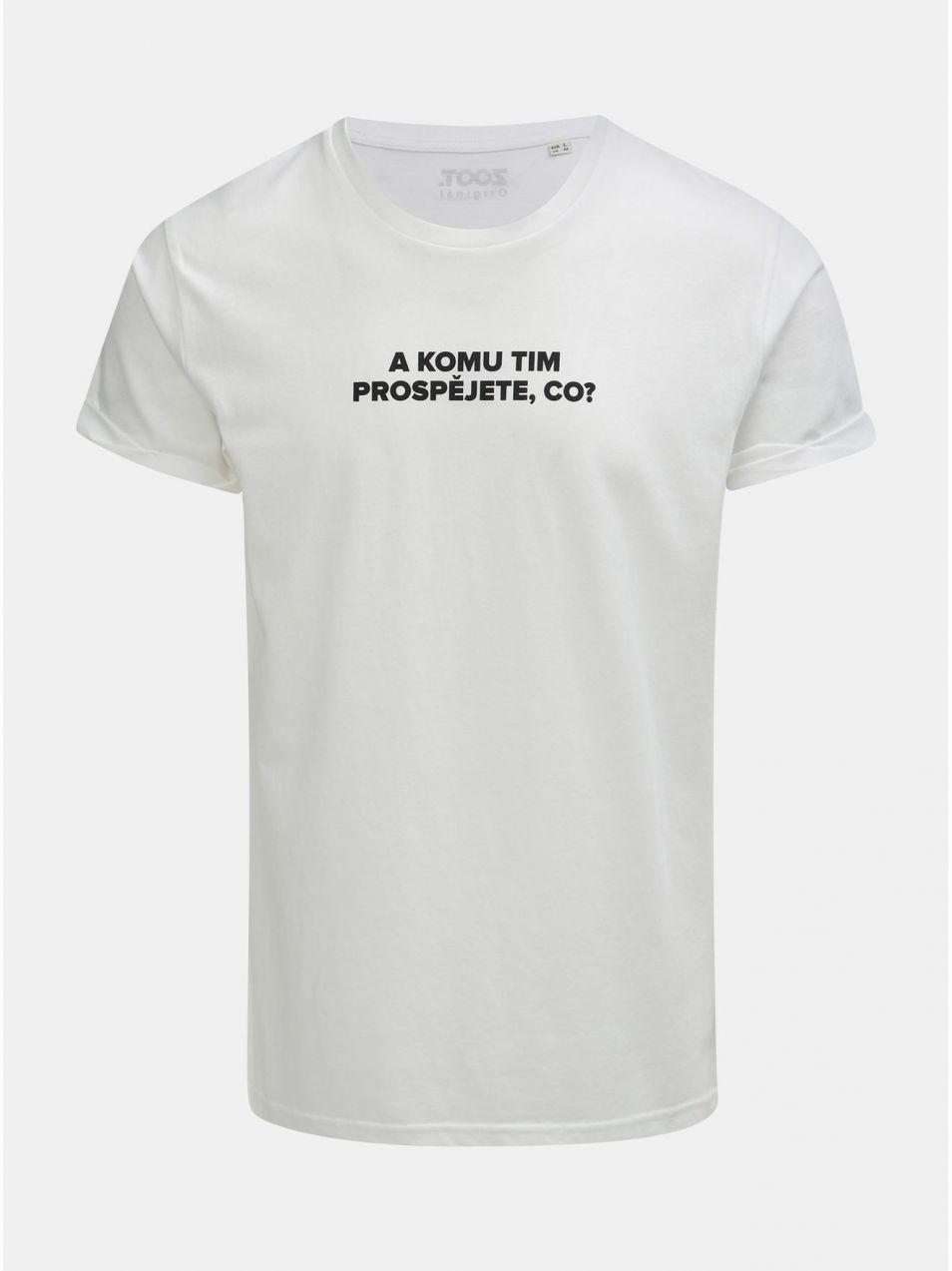 02720ec61ed92 Biele pánske tričko s potlačou ZOOT Original Komu tim prospějete ...