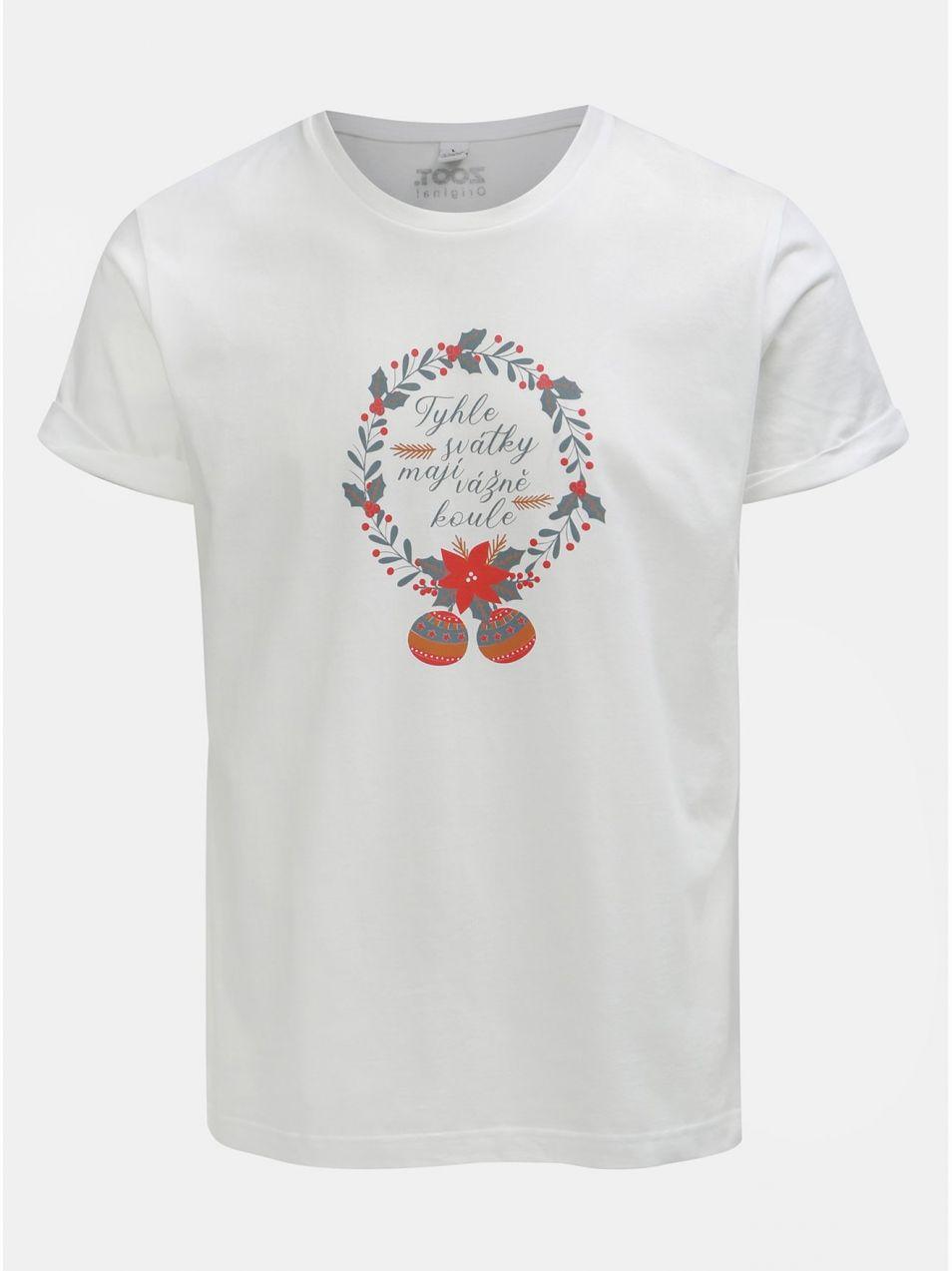 86f11a11b7de3 Biele pánske tričko s potlačou ZOOT Original Svátky mají koule ...