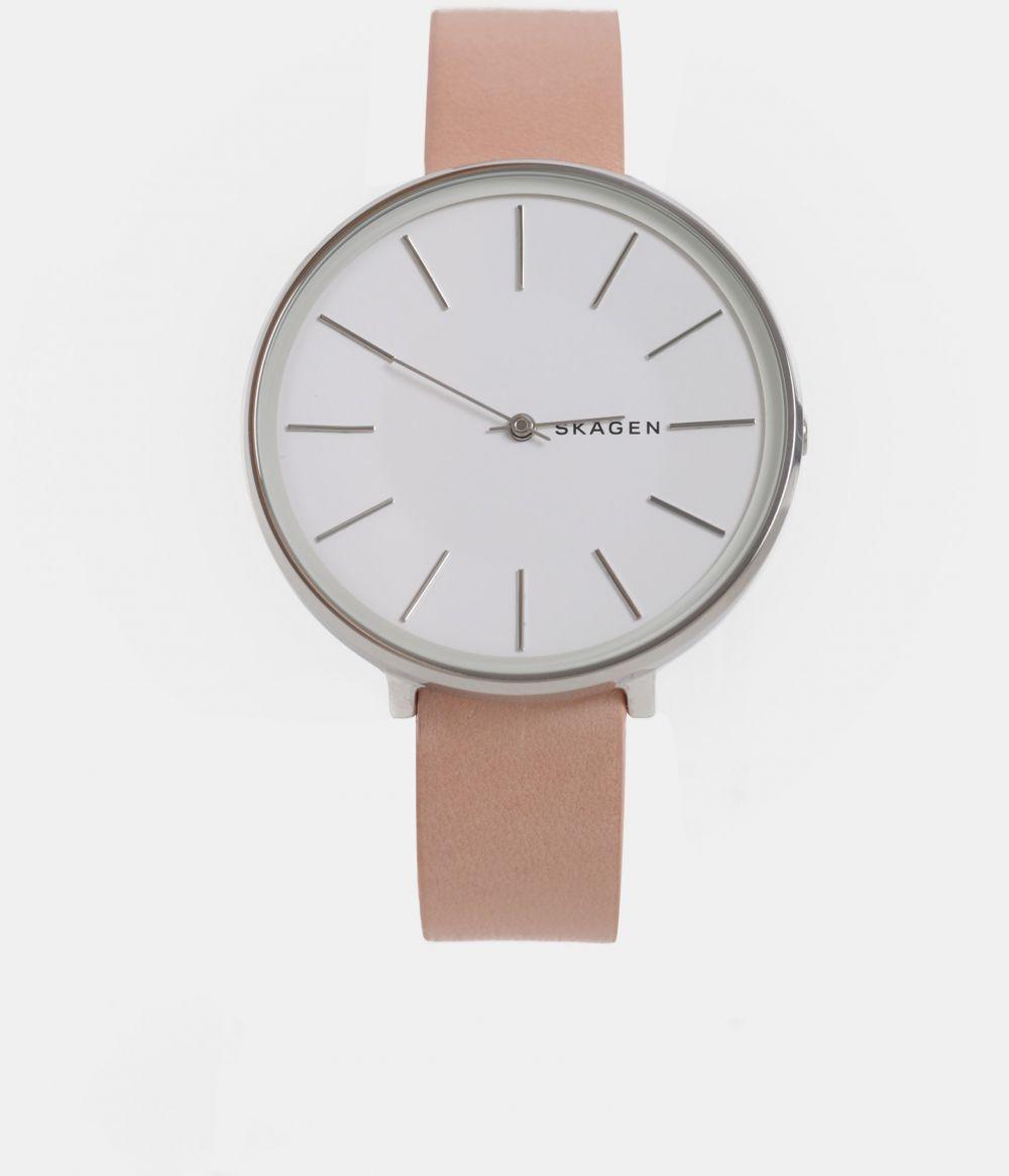 7f21cbd92 Dámske hodinky s ružovým koženým remienkom Skagen značky Skagen - Lovely.sk