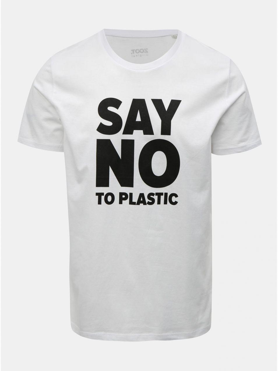 b12d71d1dcf1e Biele pánske tričko s potlačou ZOOT Original Say no to plastic ...