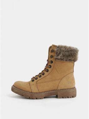 Svetlohnedé dámske zimné kožené členkové topánky Weinbrenner 5ed7fc62eaa