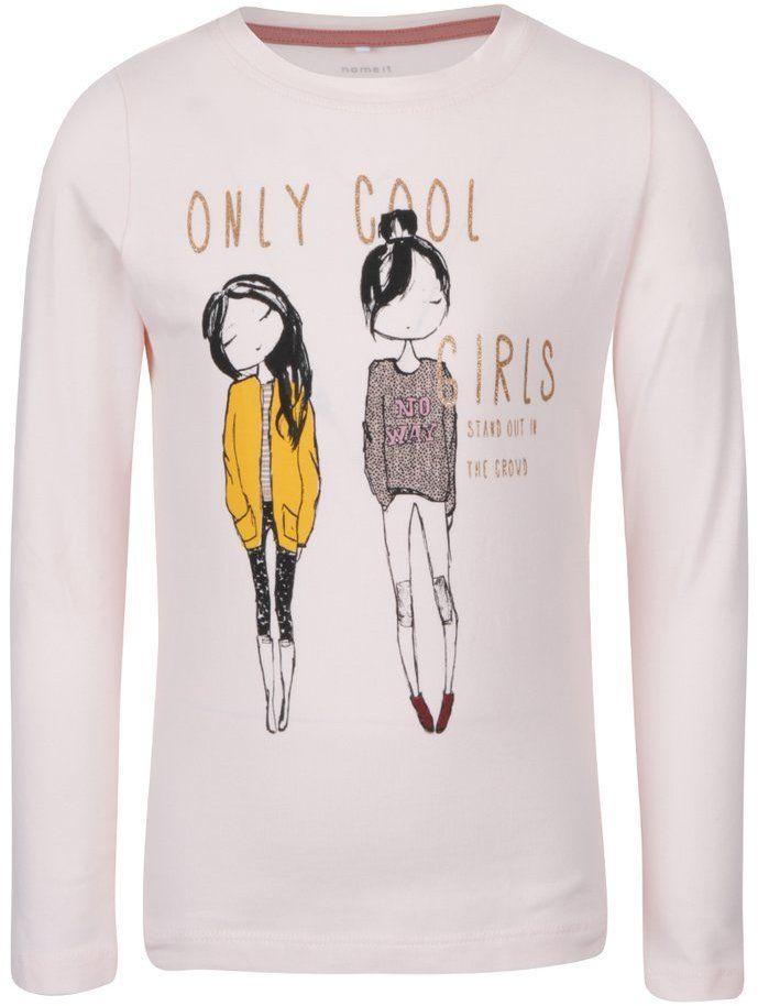00daa73b3582 Svetloružové dievčenské tričko s dlhým rukávom a potlačou name it Katty značky  name it - Lovely.sk
