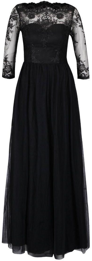 047a7077a9bc Čierne dlhé večerné šaty s čipkovaným topom Chi Chi London značky Chi Chi  London - Lovely.sk