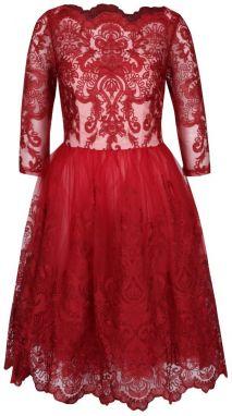 Červené čipkované šaty s bielym živôtikom Chi Chi London 64d6091daa1