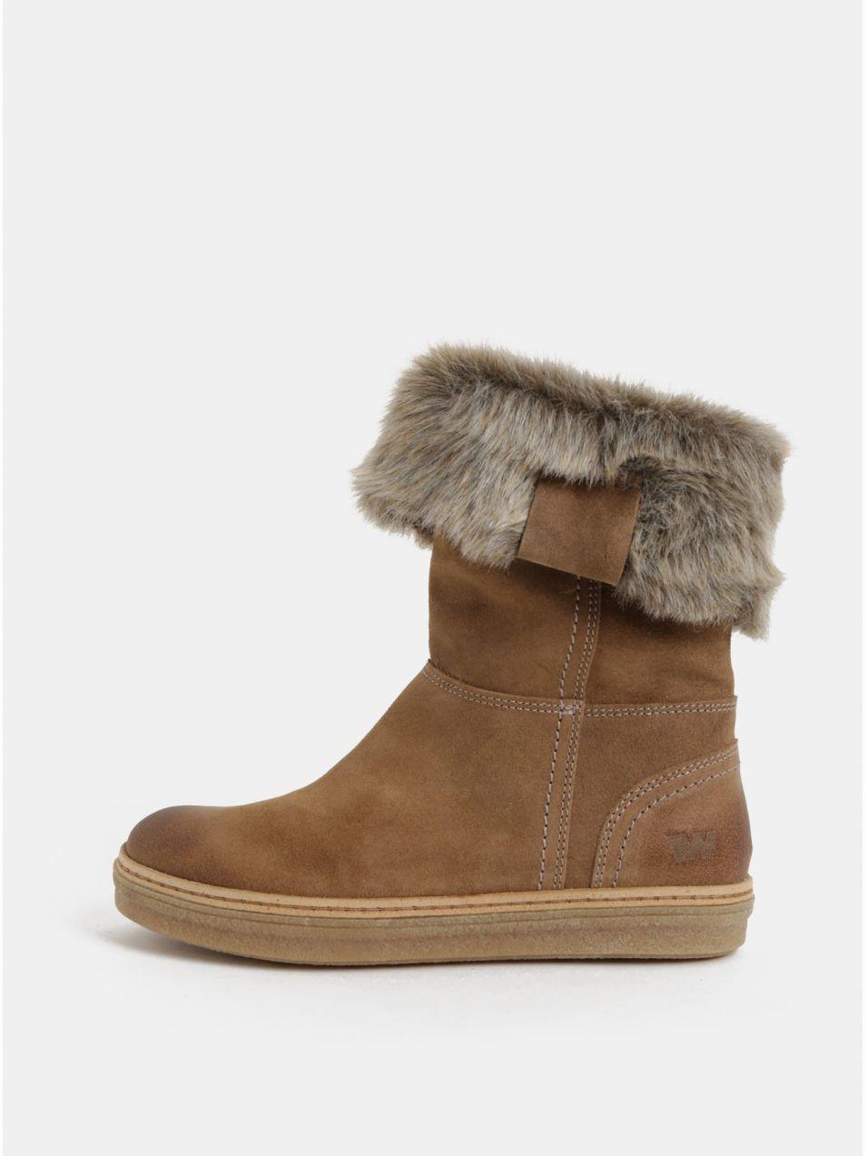 02e3aa65c0 Svetlohnedé dámske semišové členkové zimné topánky s umelou kožušinkou  Weinbrenner
