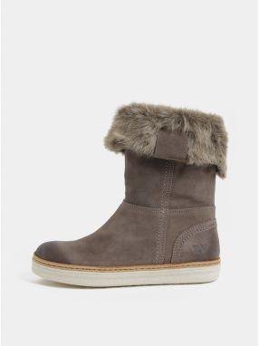da614fad83 Sivé dámske semišové členkové zimné topánky s umelou kožušinkou Weinbrenner