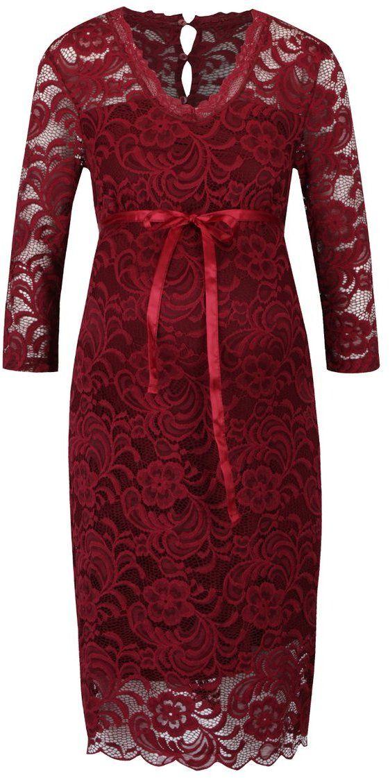 Vínové čipkované tehotenské šaty s 3 4 rukávom Mama.licious New Mivana  značky Mama.licious - Lovely.sk a15653e779a