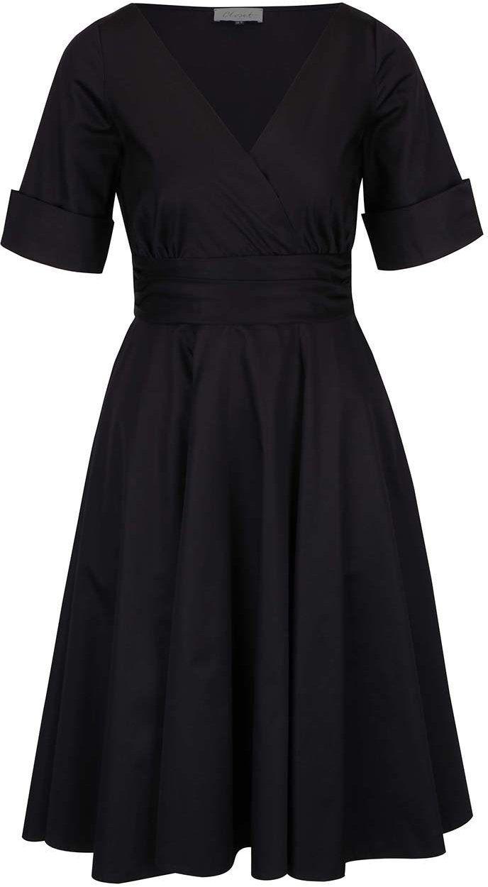 d30dbca08837 Čierne šaty s prekladaným výstrihom Closet značky Closet - Lovely.sk