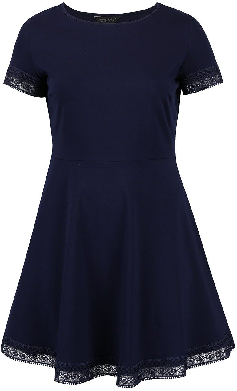 Tmavomodré šaty s čipkovaným lemom Dorothy Perkins Curve značky Dorothy  Perkins Curve - Lovely.sk 6ee78e77796