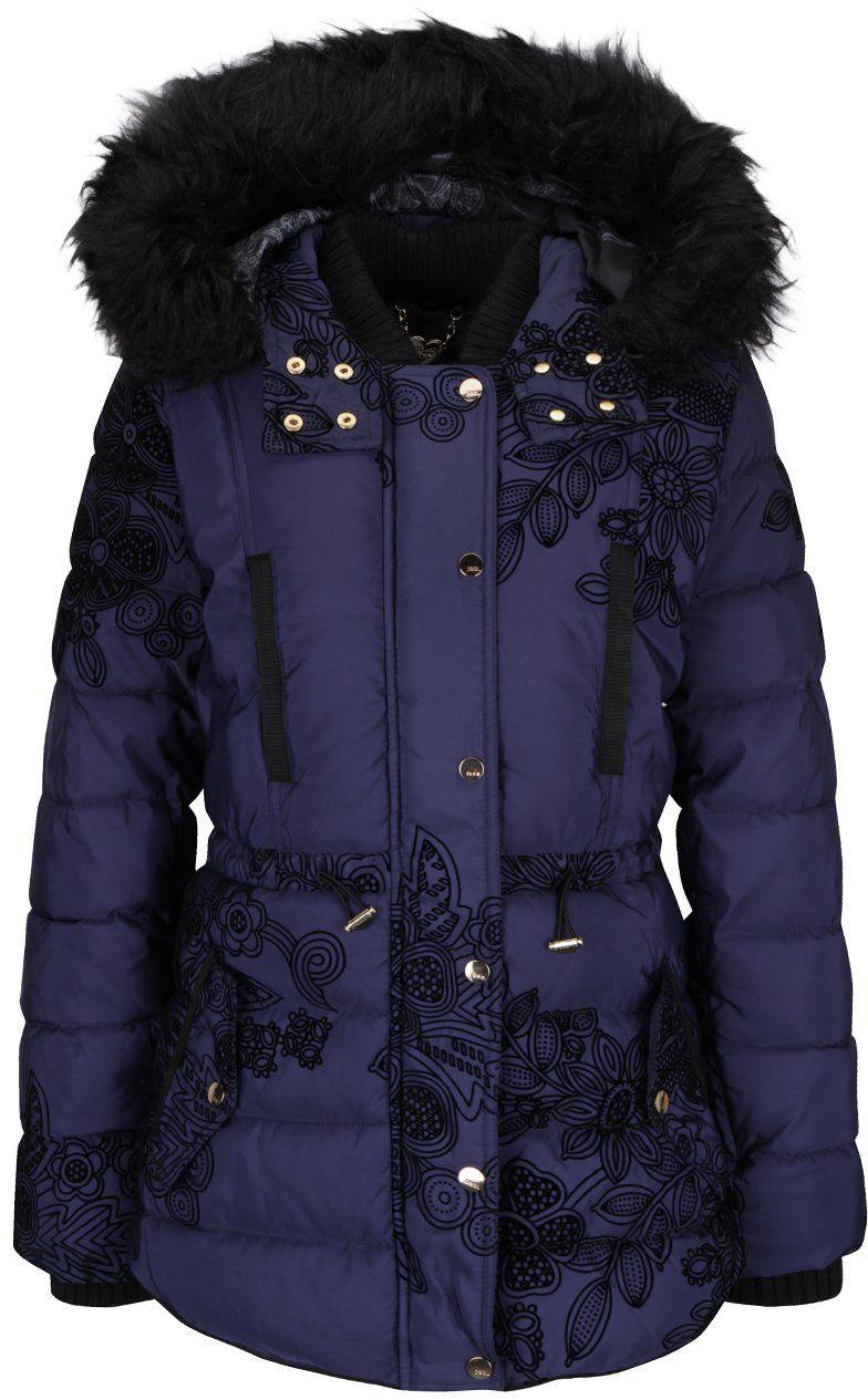 Tmavomodrá prešívaná bunda s kožúškom Desigual Ada značky Desigual -  Lovely.sk 6ffab4ed50f