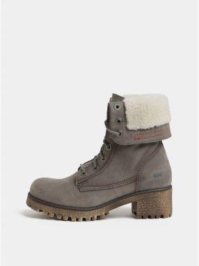 17bf4fb28c Sivé dámske kožené členkové topánky s vnútornou umelou kožušinkou  Weinbrenner