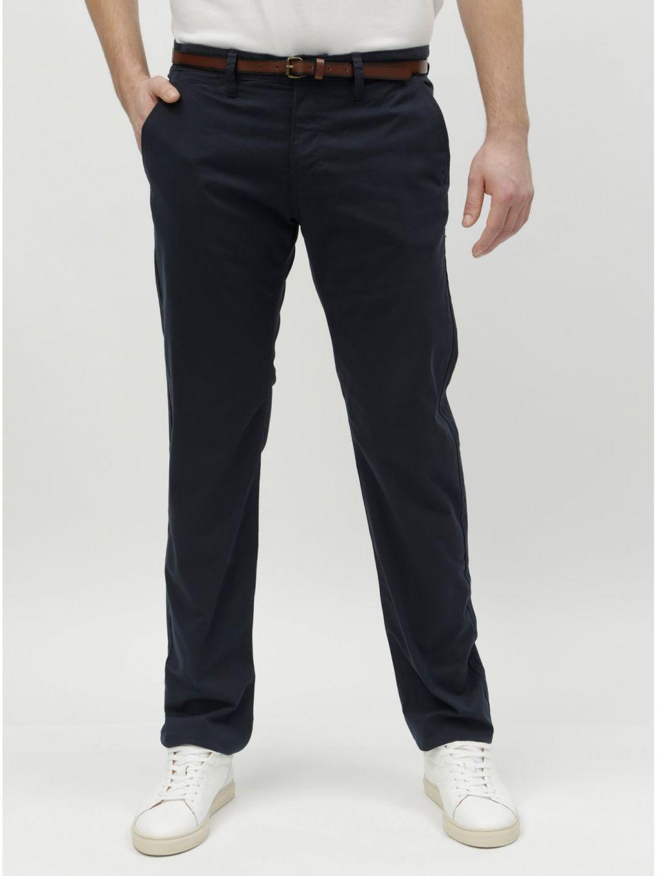 70f6b54a393e Tmavomodré pánske chino nohavice s opaskom Tom Tailor značky Tom ...