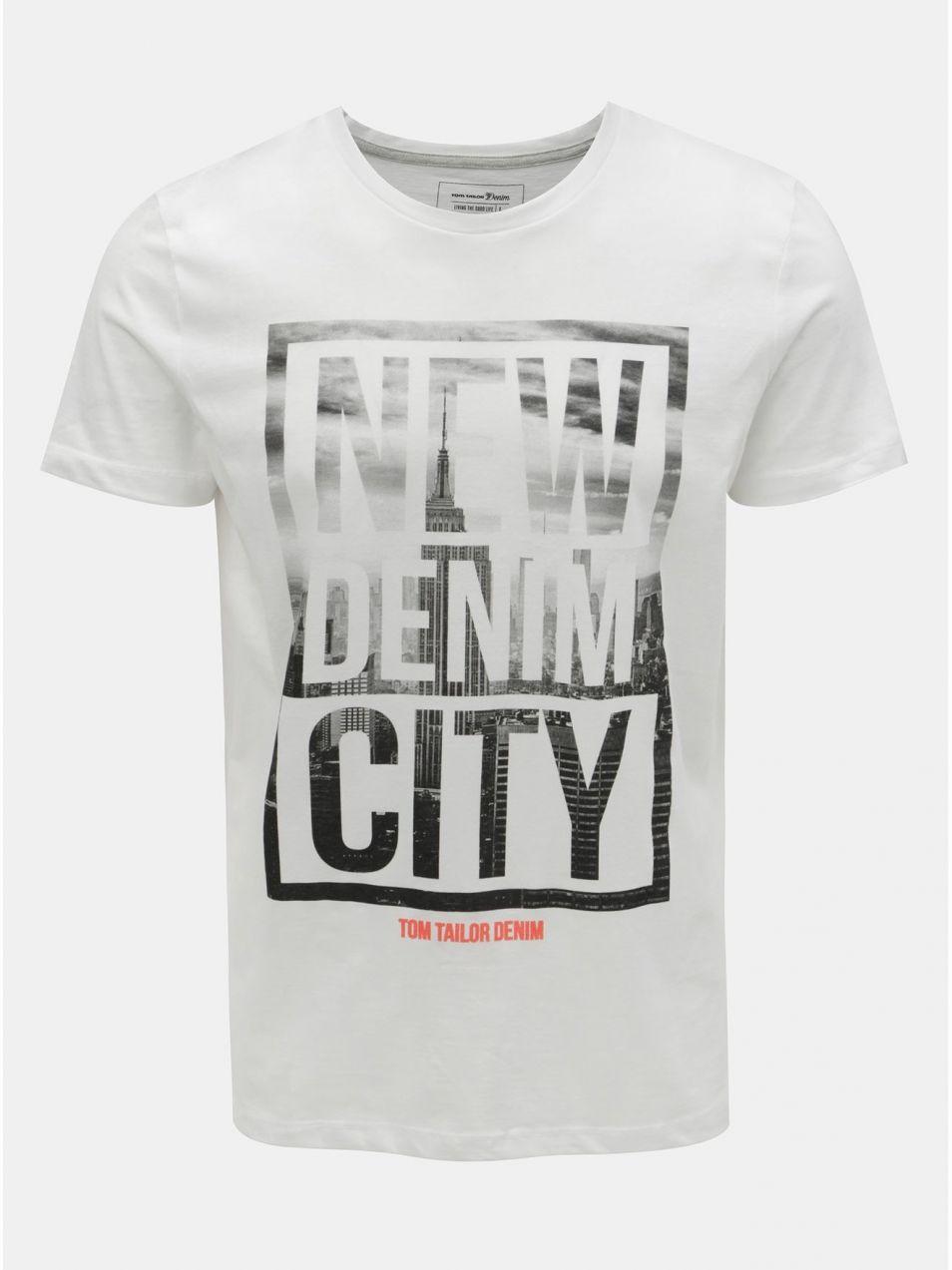 2384b2acfa65 Biele pánske tričko s potlačou Tom Tailor Denim značky TOM TAILOR ...