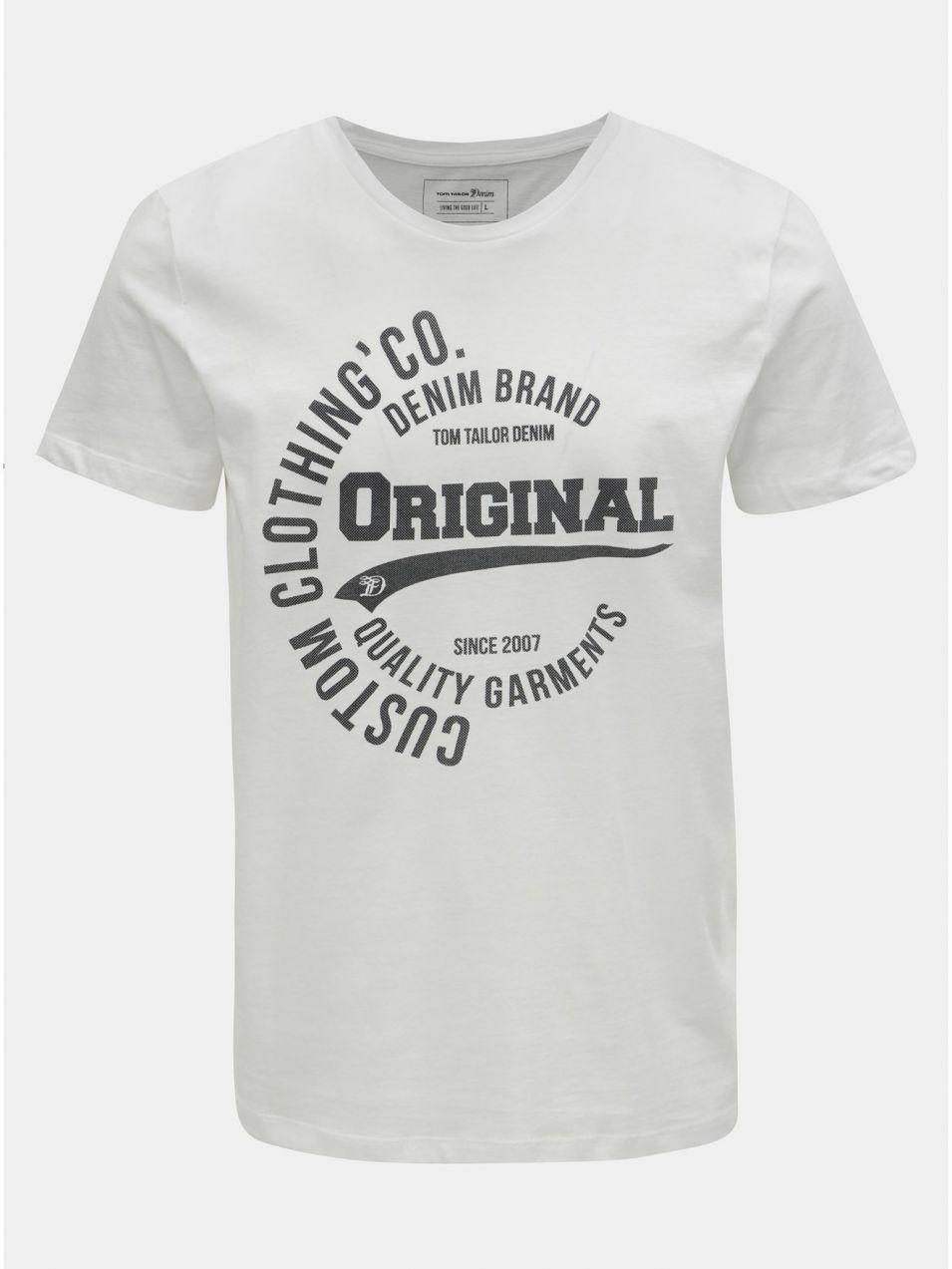 8d23995f6b94 Biele pánske tričko s potlačou Tom Tailor Denim značky TOM TAILOR DENIM -  Lovely.sk