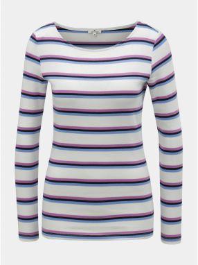 29d94a2b5171 Fialovo–biele dámske pruhované tričko Tom Tailor
