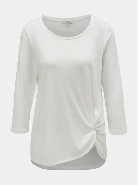 44118e7294dc Biele dámske tričko s riasením na boku Tom Tailor
