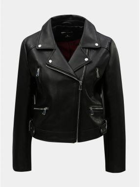 Čierna koženková krátka bunda TALLY WEiJL 8e901334cc7