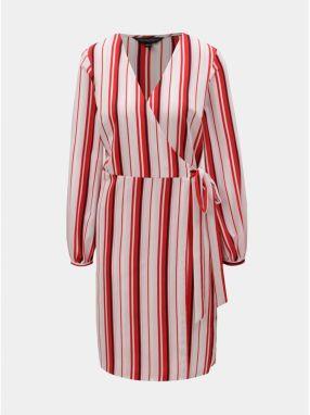 Červeno–ružové pruhované zavinovacie šaty Dorothy Perkins ff756dea272