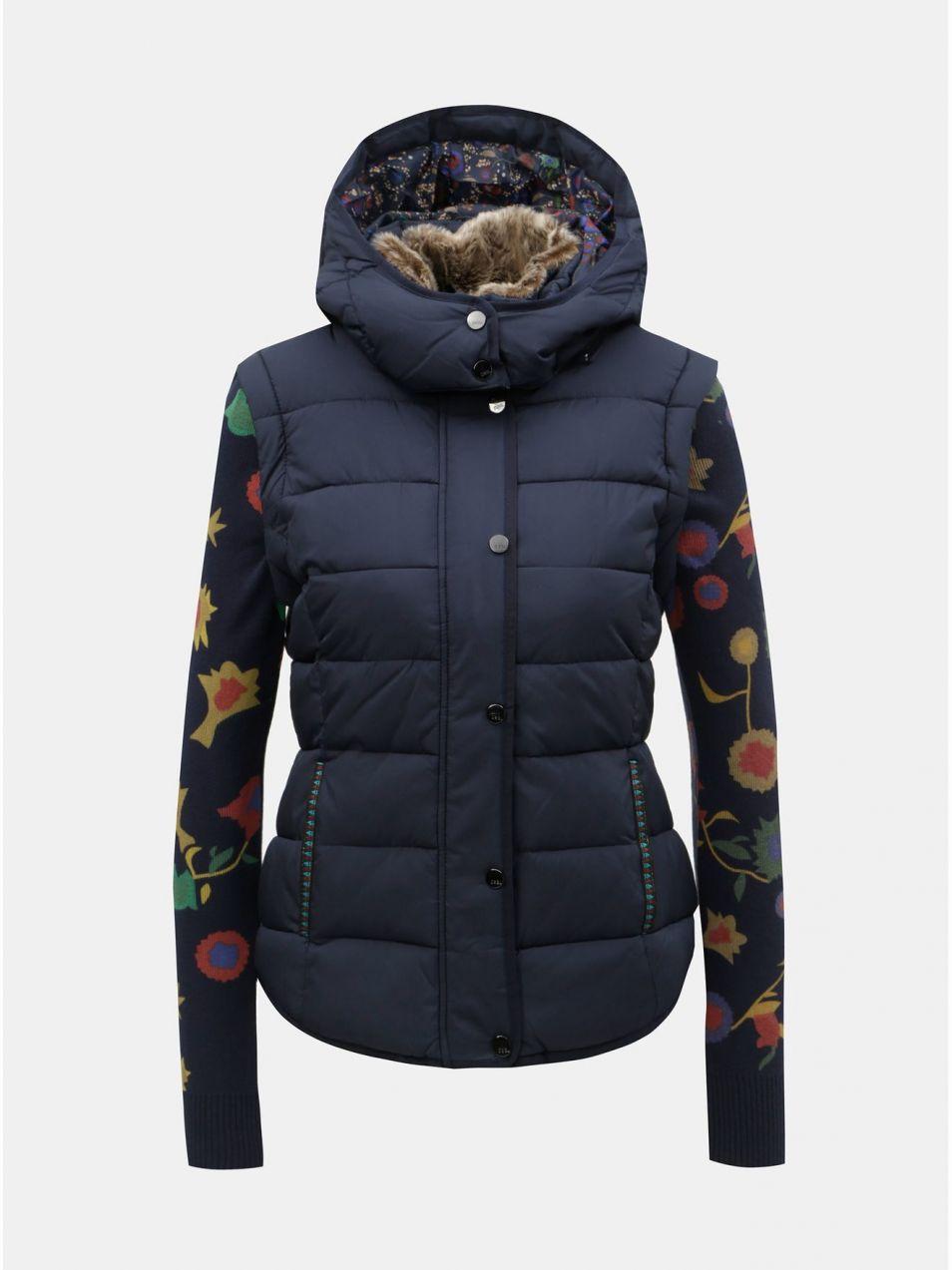 Tmavomodrá prešívaná bunda vesta s odnímateľnou umelou kožušinkou Desigual  Padded Pia cffef0b2662