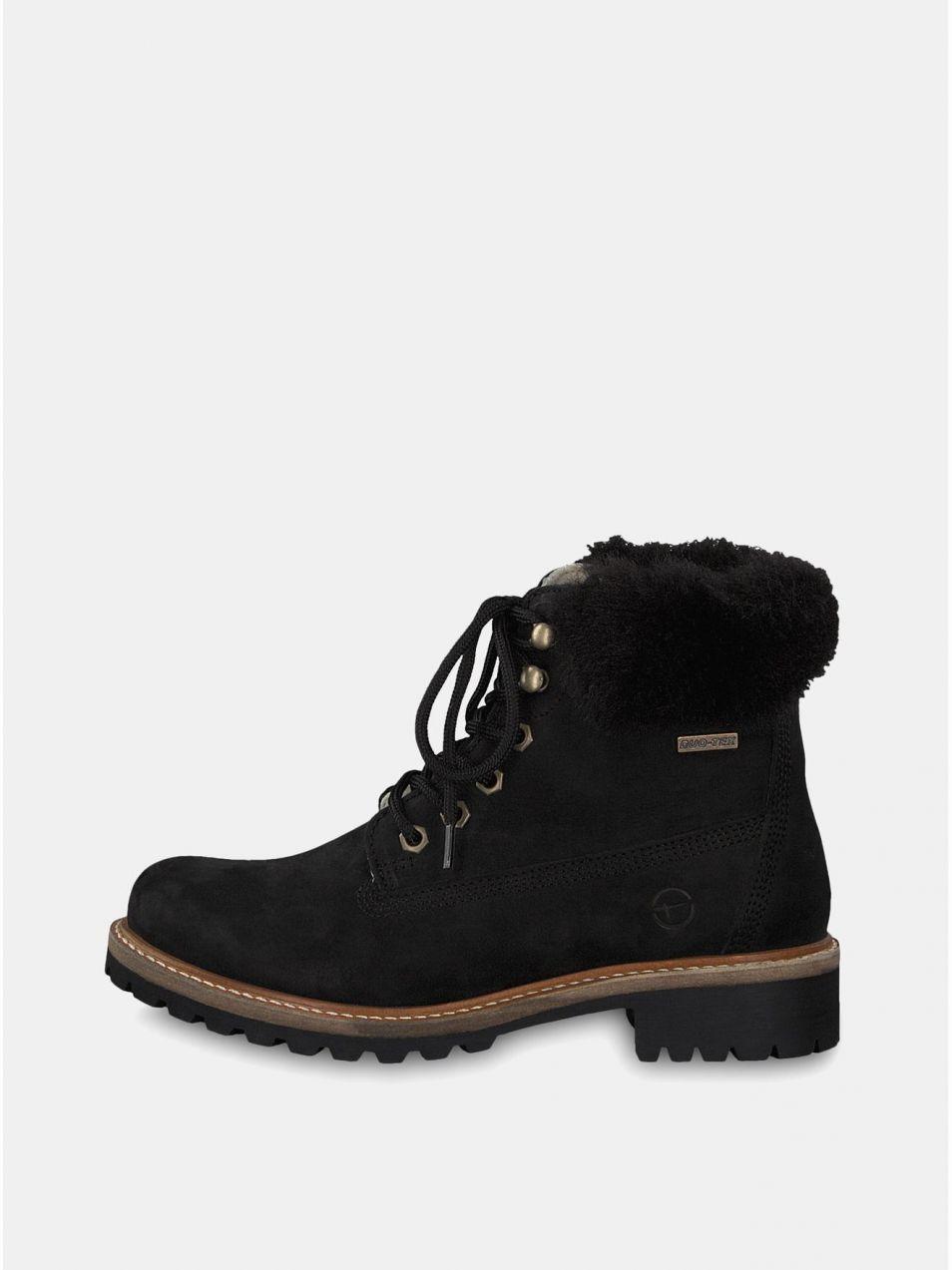 6583b158ee1c Čierne kožené členkové nepremokavé zimné topánky s vlnenou podšívkou  Tamaris značky Tamaris - Lovely.sk