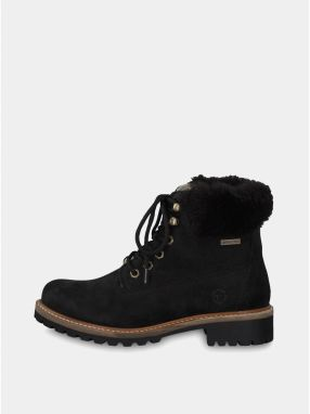Čierne kožené členkové nepremokavé zimné topánky s vlnenou podšívkou Tamaris 1fd8fb23735