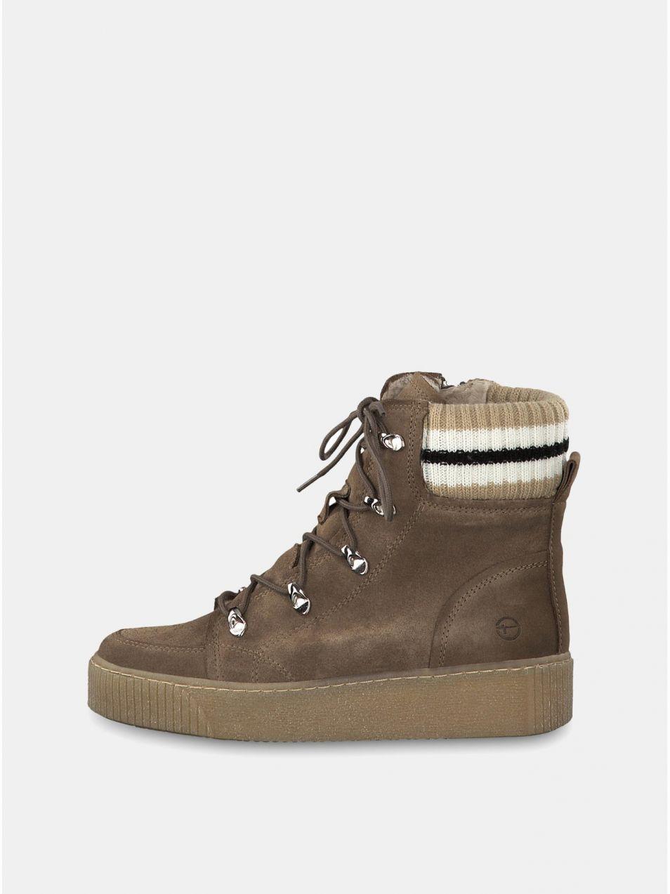 4a6760e556b Béžové semišové členkové zimné topánky na platforme Tamaris značky ...